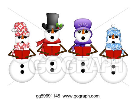 Snowman carolers singing christmas. Caroling clipart song