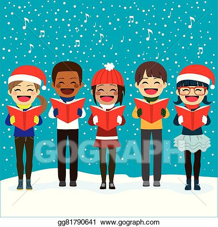 Vector stock children singing. Caroling clipart tradition
