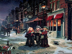 Free christmas carolers images. Caroling clipart victorian
