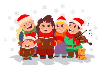 Search photos christmas children. Caroling clipart victorian