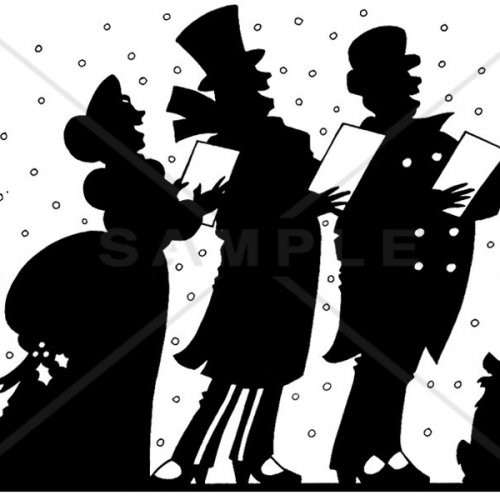 Caroling clipart victorian. Christmas carolers silhouette counted