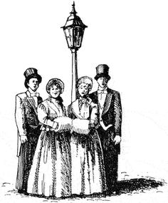 Caroling clipart victorian. Christmas carolers clip art