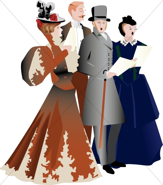Carolers traditional christmas decoration. Caroling clipart victorian