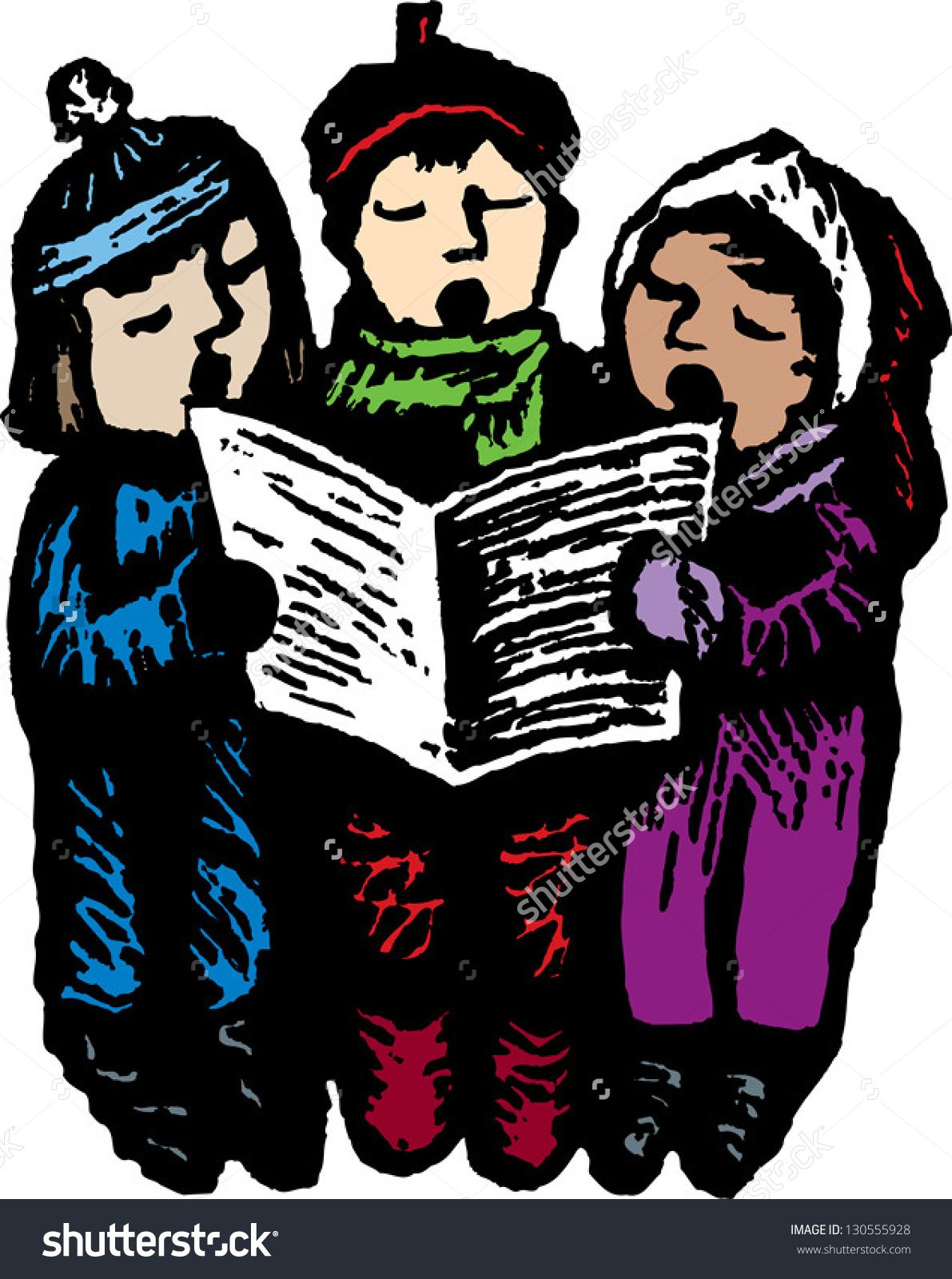 Vector illustration of three. Caroling clipart village