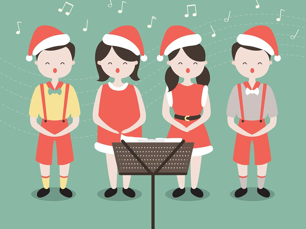 Christmas in the baton. Caroling clipart village