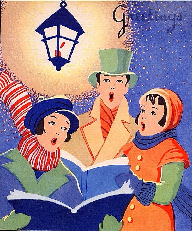 Caroling clipart vintage.  best christmas cards