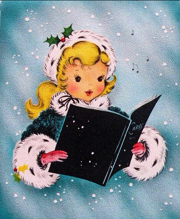 best christmas cards. Caroling clipart vintage