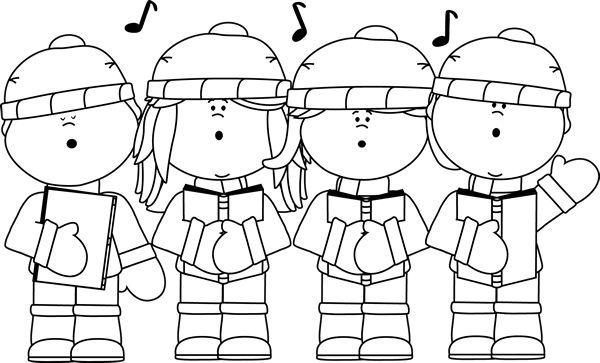 Black and white christmas. Caroling clipart whitechristmas