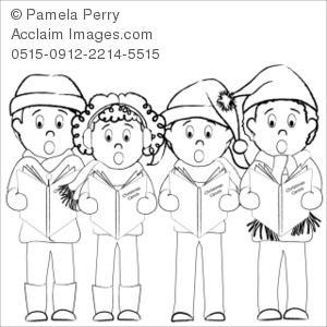 Clip art illustration of. Caroling clipart whitechristmas