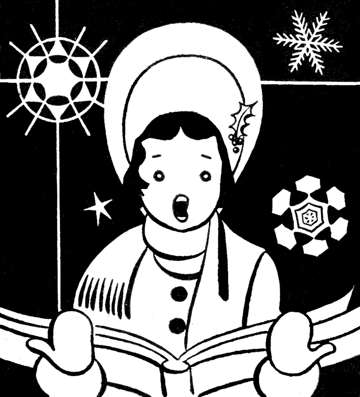 Caroling clipart whitechristmas. Retro clip art caroler