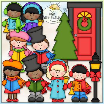 Caroling clipart winter. Christmas cu clip art
