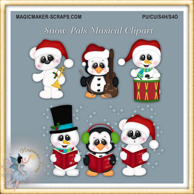Snow christmas penguin polar. Caroling clipart winter