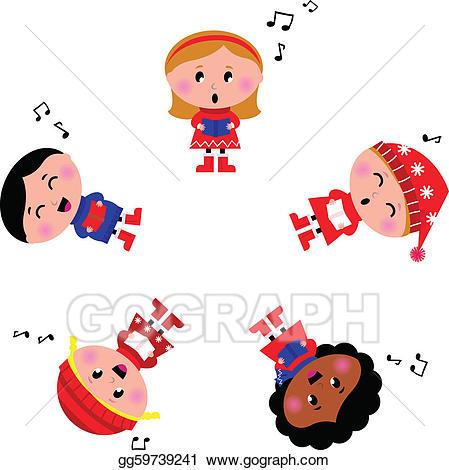 Vector art kids singing. Caroling clipart winter