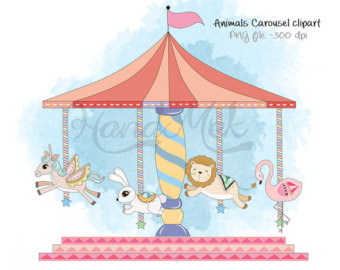 Carousel clipart. Etsy animals setcarousel png