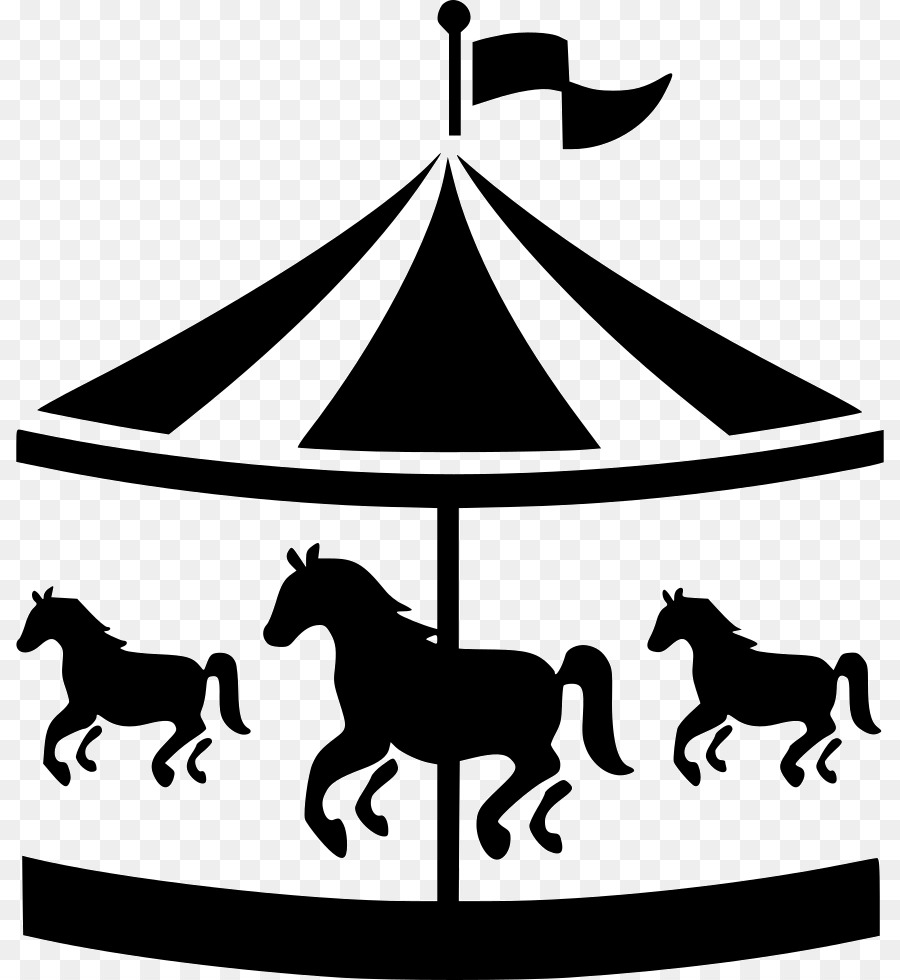 Carousel clipart. Park cartoon horse tree