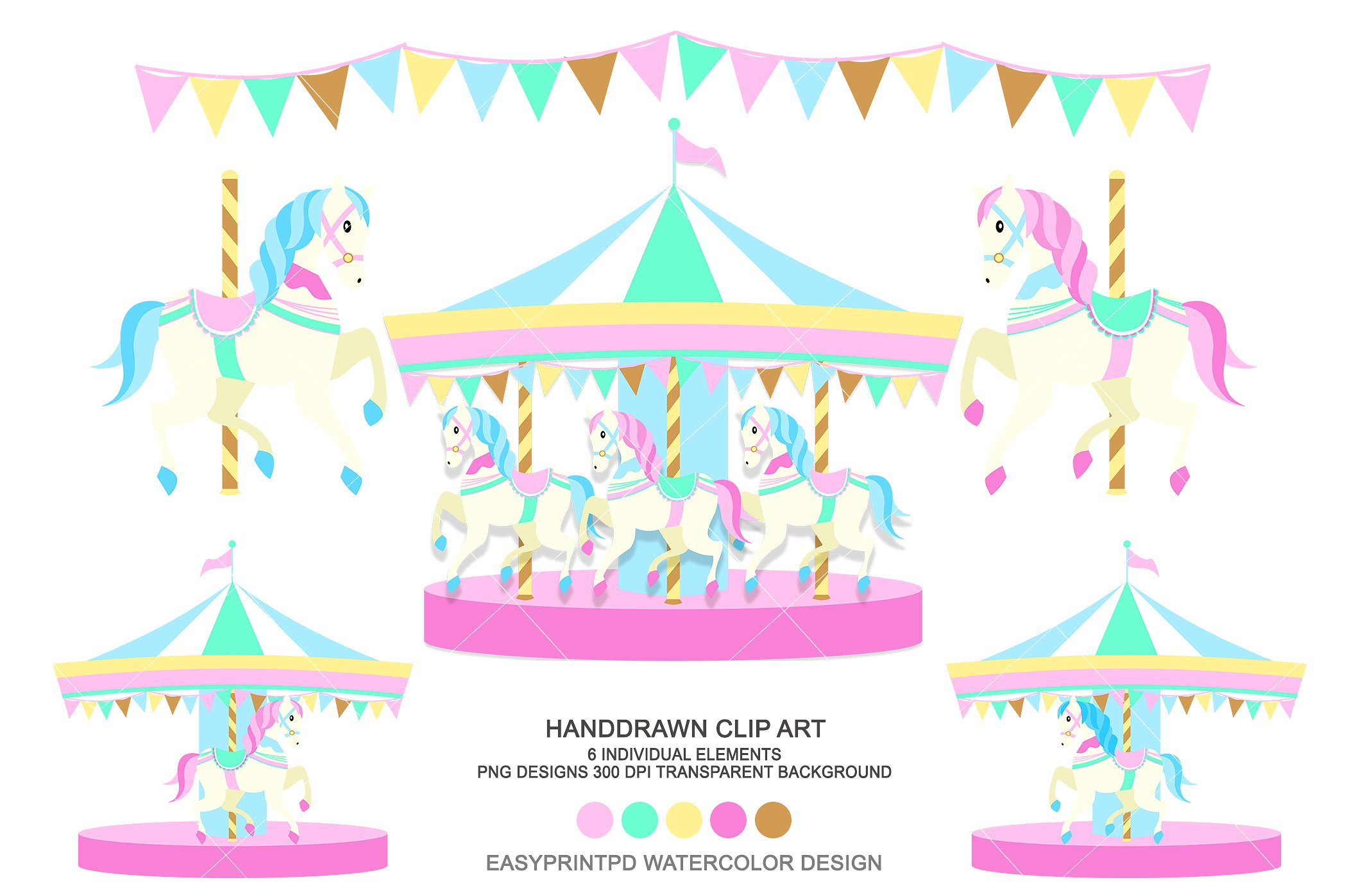 Horse carnival clip art. Carousel clipart background image