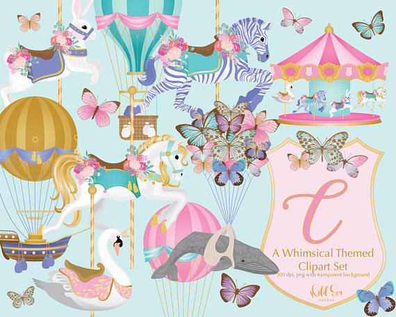 Carousel clipart background image. Hot air balloon set
