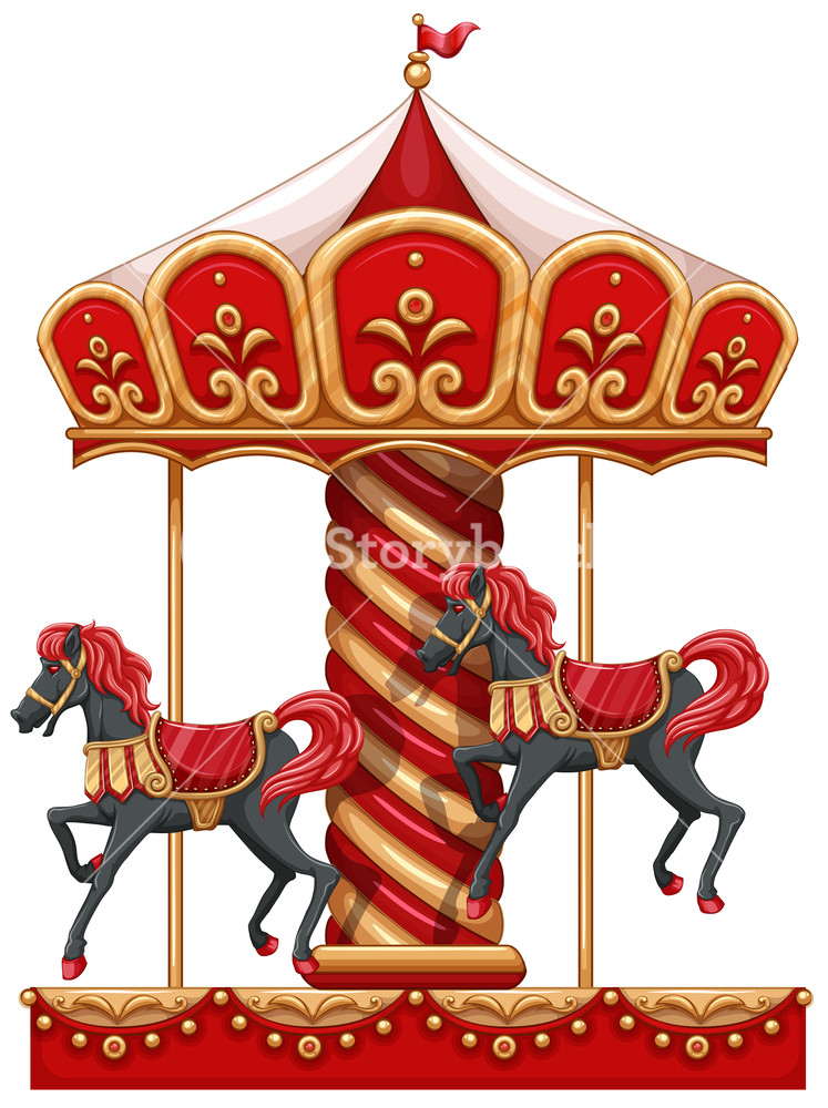Carousel clipart background image. Illustration of a ride