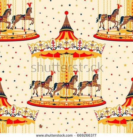 Carousel clipart background image. Seamless pattern with and