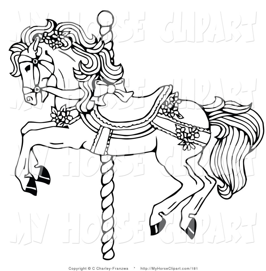 Clip art of a. Carousel clipart black and white