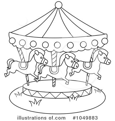 Carousel clipart black and white.