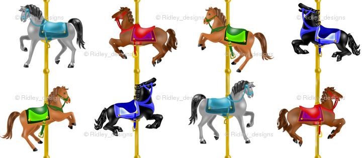Carousel clipart border. Horses smaller giftwrap ridley