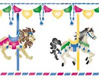 Large horse wall stencil. Carousel clipart border
