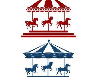 Carousel clipart carousal. Circus silhouettes etsy horse