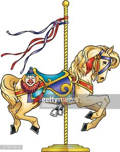 Horse drawings and paintings. Carousel clipart carousal