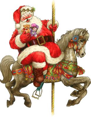 Christmas on carousel carousels. Clipart santa horse