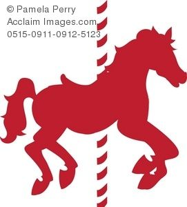 Horse image pink in. Carousel clipart colorful