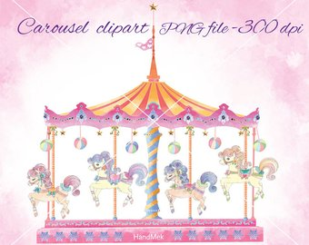 Carousel clipart colorful. Horse etsy set cute