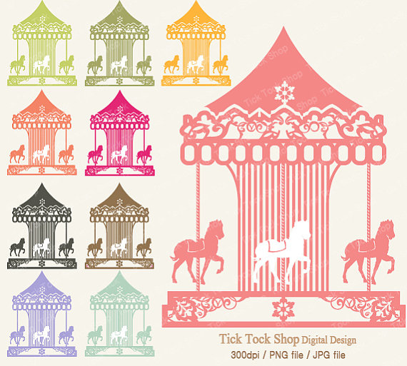 Carnival merry go round. Carousel clipart colorful