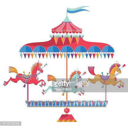 Vintage with horses on. Carousel clipart colorful