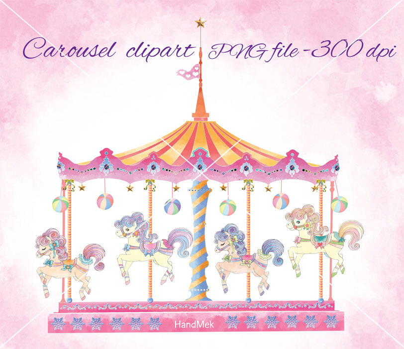 Carnival clipart merry go round. Carousel set cute horse