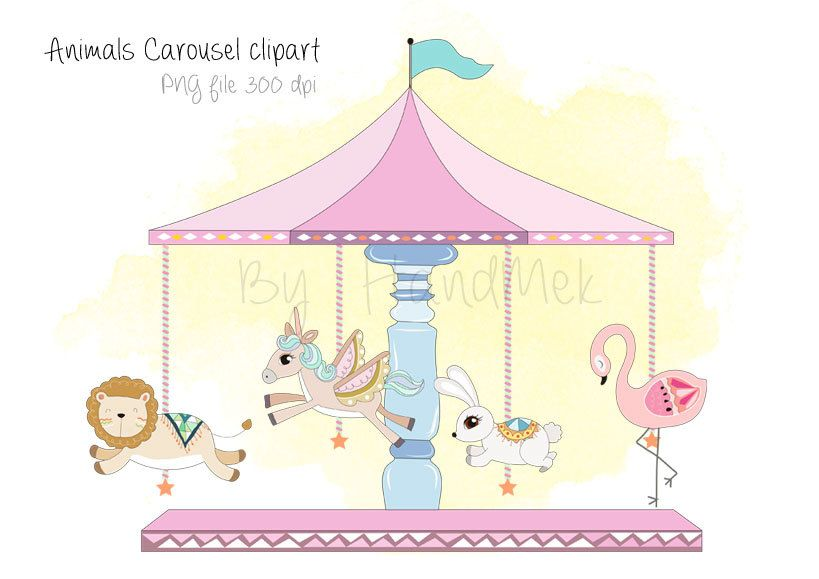 Carousel clipart file. Animals png dpi by