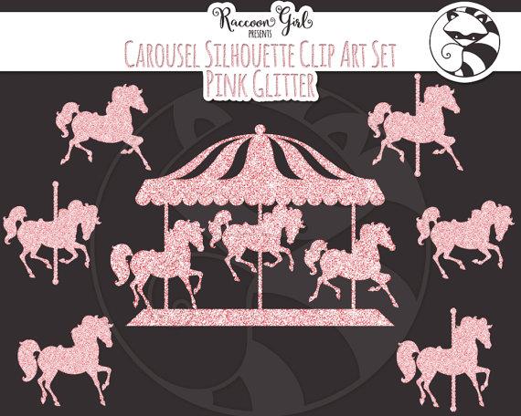 Carousel clipart glitter. Pink clip art set