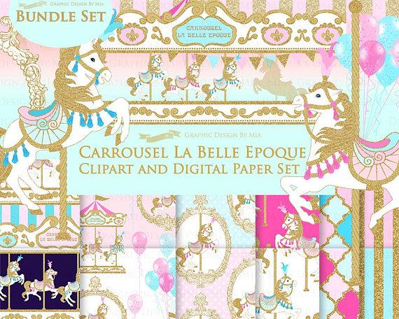 Carousel clipart glitter. Merry go round gold