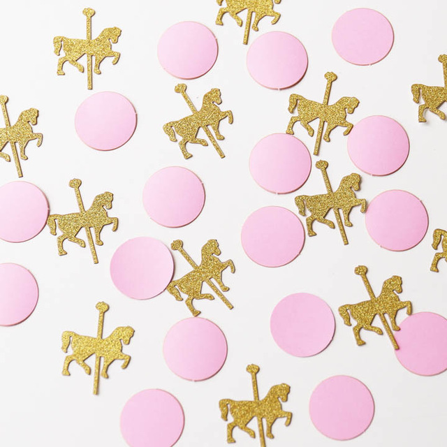 Pink and gold horse. Carousel clipart glitter