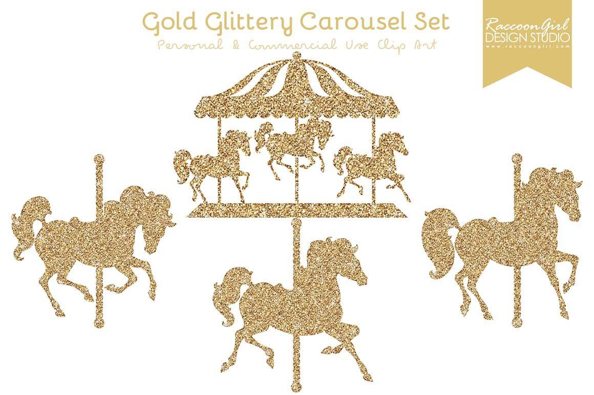 Carousel clipart glitter. Gold clip art set