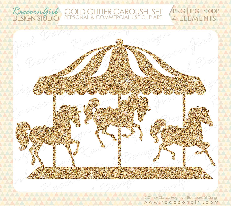 Gold clip art set. Carousel clipart glitter