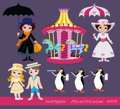 Carousel clipart mary poppins carousel. Printables this download is
