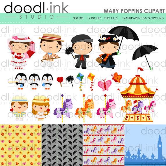 Sale digital cute cartoon. Carousel clipart mary poppins carousel