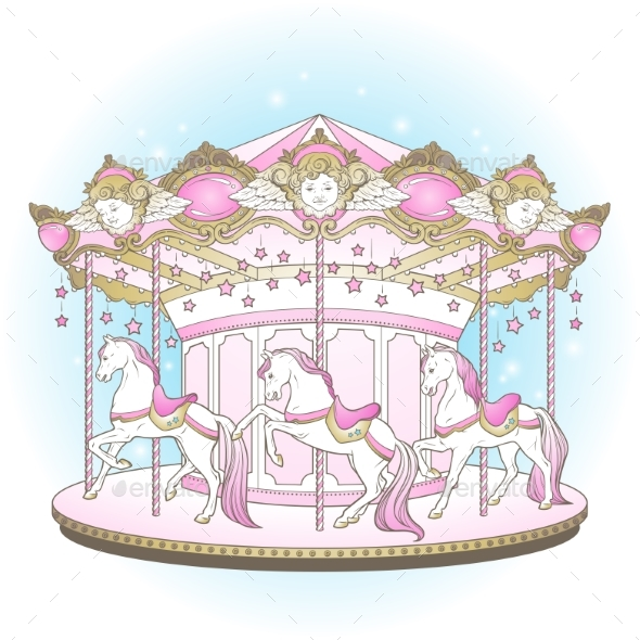 Design for kids by. Carousel clipart merry go round