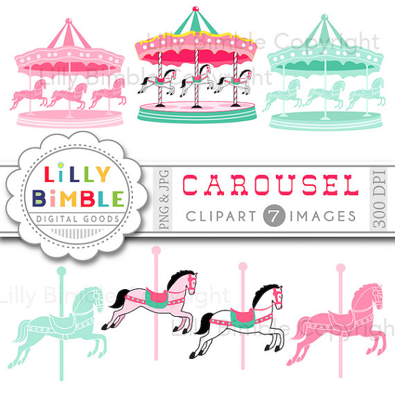 Carousel clipart merry go round. Digital scrapbook papers horses