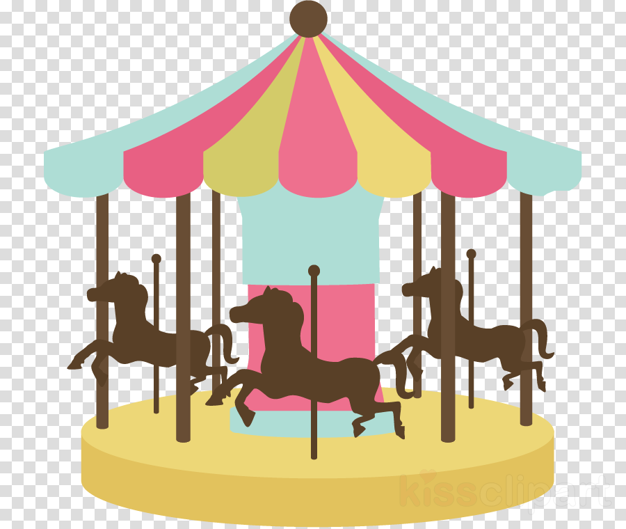 Carousel clipart merry go round. Park cartoon illustration pink