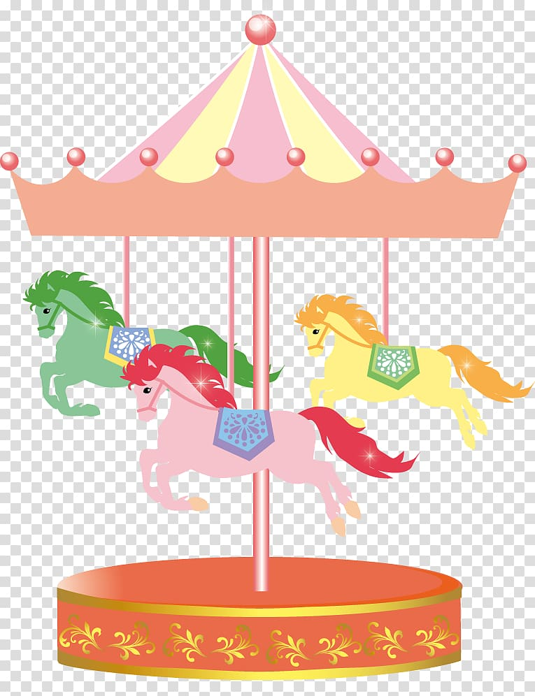 New year card transparent. Carousel clipart merry go round