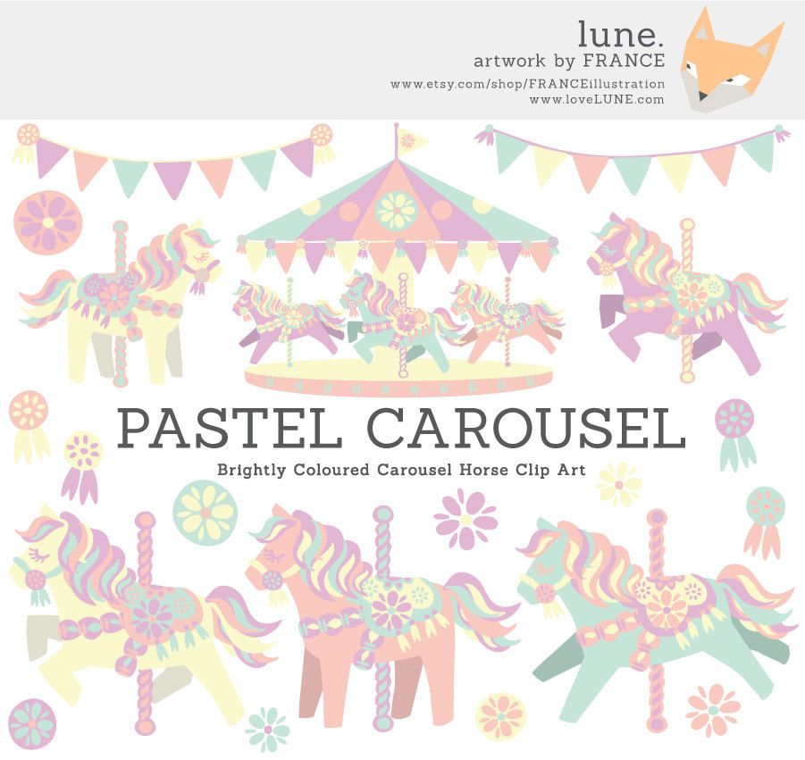 Get for horse little. Carousel clipart pastel