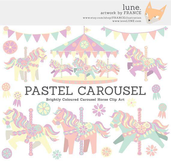 for horse little. Carousel clipart pastel