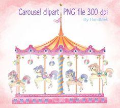 Carousel clipart pastel.  for horse little